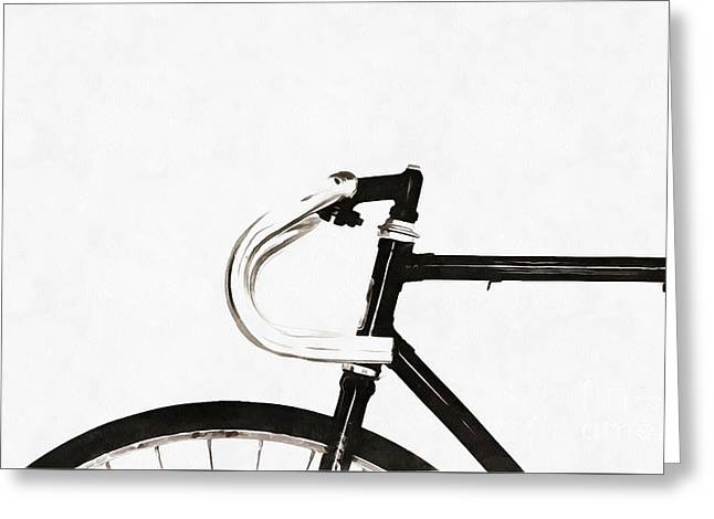 Minimalist Bicycle Painting Greeting Card by Edward Fielding