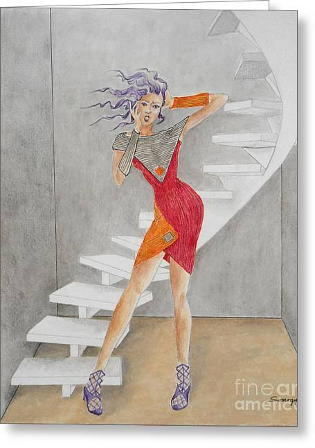 Minimalist Madness -- Whimsical Fashion Drawing Greeting Card