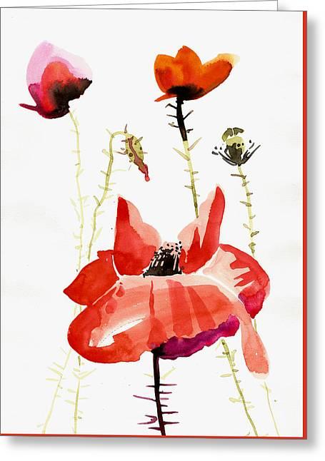 Minimalist Poppy Field Watercolor Greeting Card by Tiberiu Soos