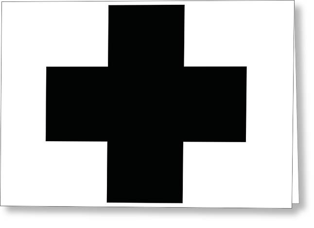 Minimalist Swiss Cross Pattern - Black On White Greeting Card