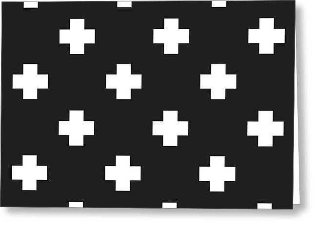 Minimalist Swiss Cross Pattern - Black, White 01 Greeting Card