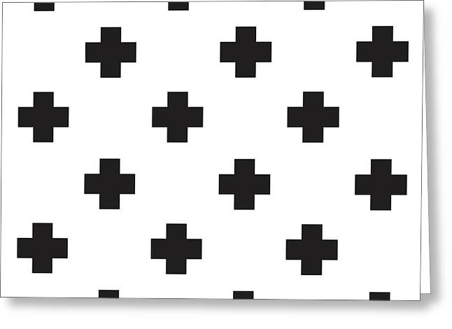 Minimalist Swiss Cross Pattern - Black, White 02 Greeting Card