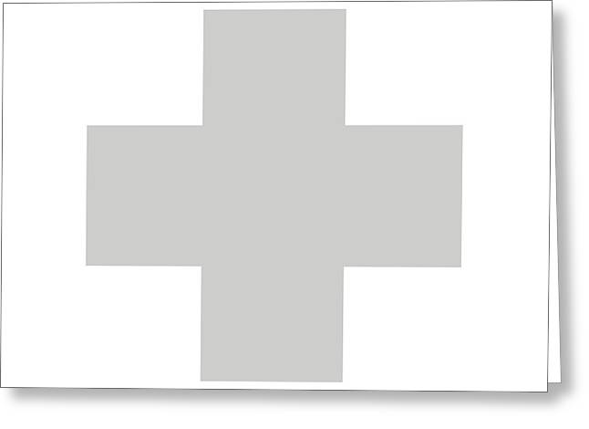 Minimalist Swiss Cross Pattern - Grey On White Greeting Card