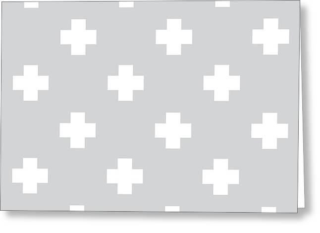 Minimalist Swiss Cross Pattern - Grey, White 01 Greeting Card