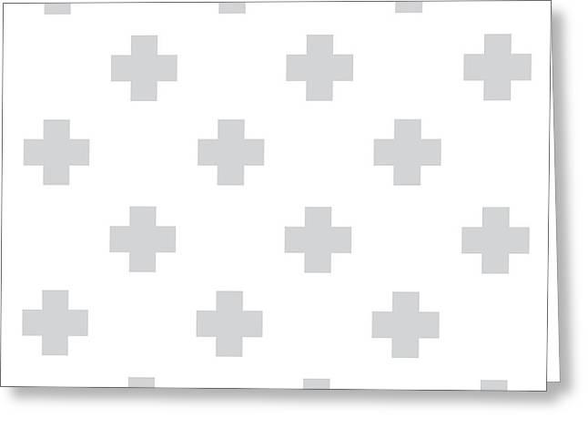 Minimalist Swiss Cross Pattern - Grey, White 02 Greeting Card