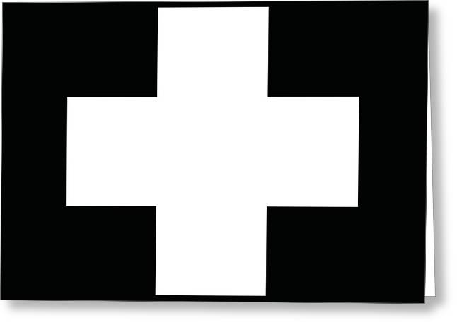 Minimalist Swiss Cross Pattern - White On Black Greeting Card