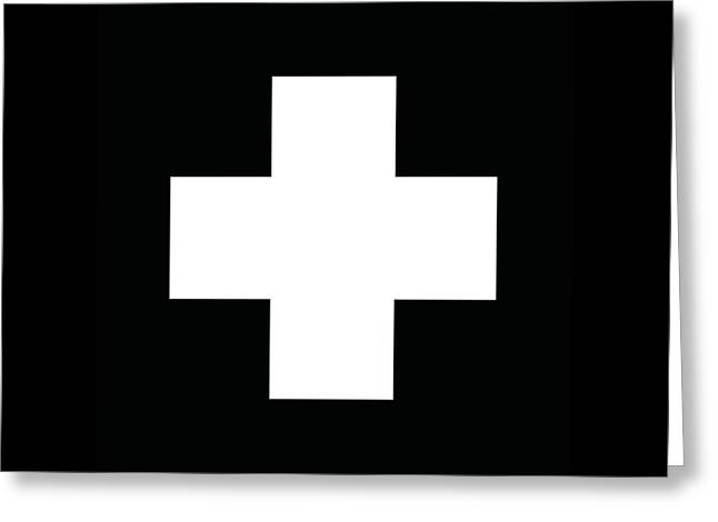 Minimalist Swiss Cross Pattern - White On Black Greeting Card