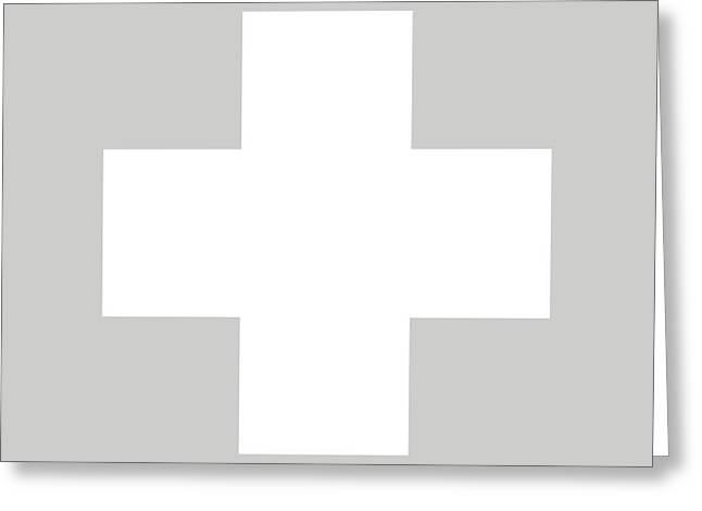 Minimalist Swiss Cross Pattern - White On Gray Greeting Card