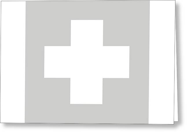 Minimalist Swiss Cross Pattern - White On Gray Greeting Card