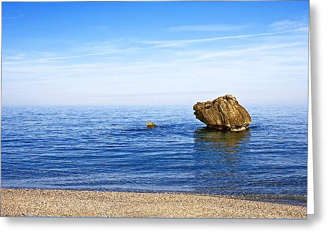 Minimalistic Seascape Greeting Card by Claudia Holzfoerster