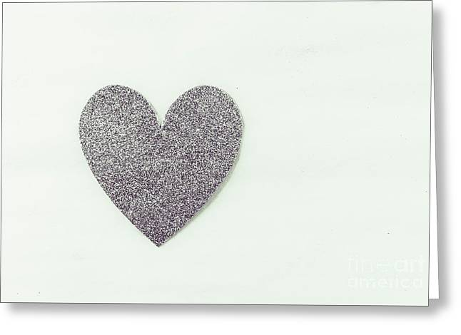 Minimalistic Silver Glitter Heart Greeting Card