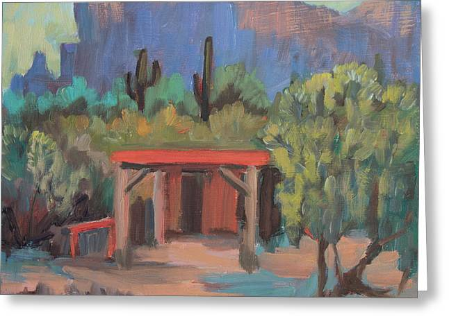 Greeting Card featuring the painting Mining Camp At Superstition Mountain Museum by Diane McClary