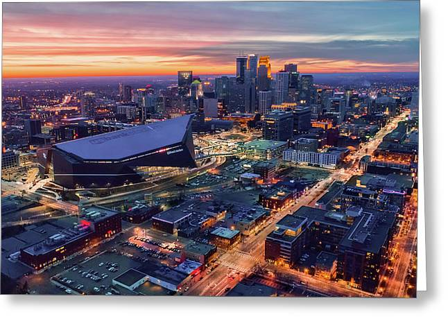 Minneapolis And Us Bank Stadium At Dusk Greeting Card