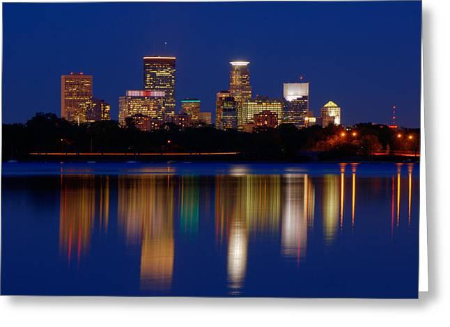 Minneapolis At Night Greeting Card