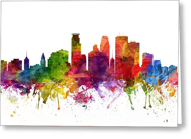 Minneapolis Cityscape 06 Greeting Card by Aged Pixel