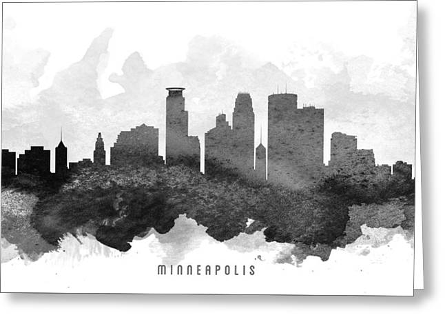 Minneapolis Cityscape 11 Greeting Card by Aged Pixel
