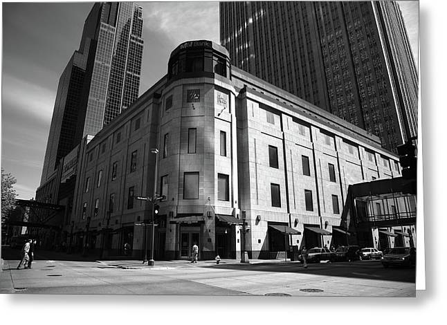 Greeting Card featuring the photograph Minneapolis Downtown Bw by Frank Romeo