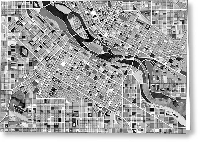 Minneapolis Map Black And White Greeting Card