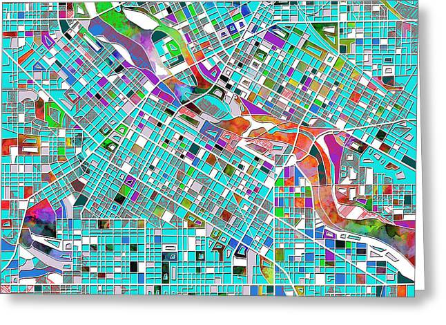 Minneapolis Map Blue 2 Greeting Card