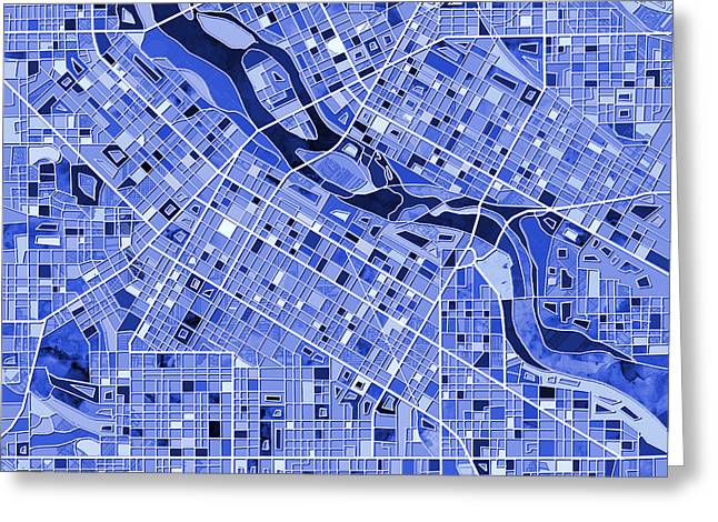 Minneapolis Map Blue Greeting Card