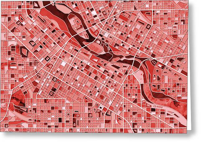 Minneapolis Map Red Greeting Card