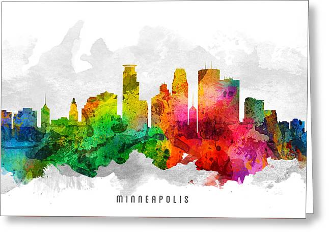 Minneapolis Minnesota Cityscape 12 Greeting Card by Aged Pixel