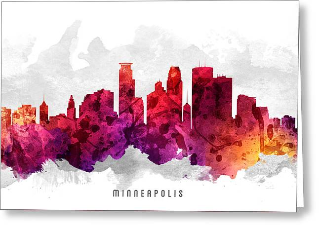 Minneapolis Minnesota Cityscape 14 Greeting Card by Aged Pixel