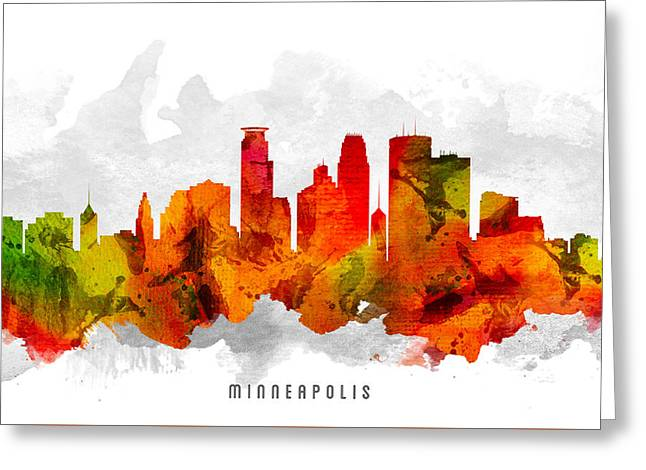 Minneapolis Minnesota Cityscape 15 Greeting Card by Aged Pixel