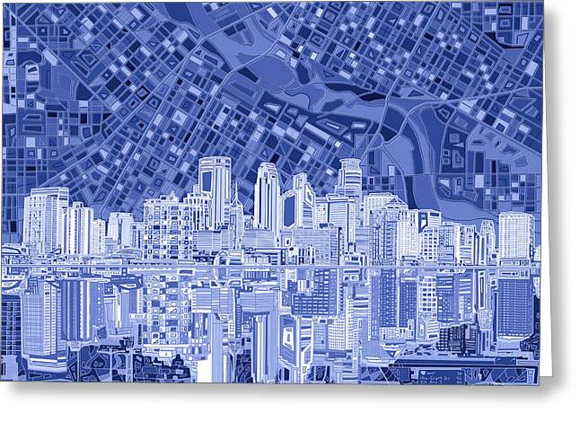 Minneapolis Skyline Abstract 6 Greeting Card