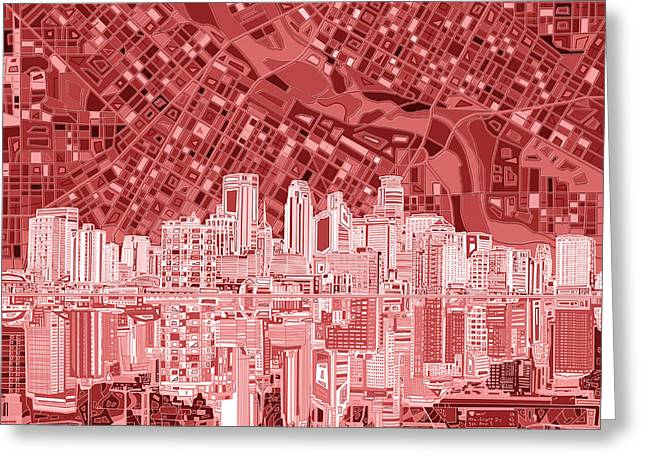 Minneapolis Skyline Abstract 7 Greeting Card