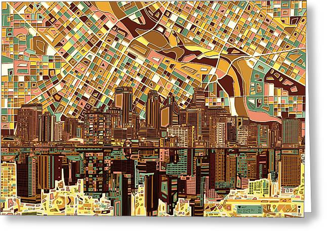 Minneapolis Skyline Abstract 8 Greeting Card