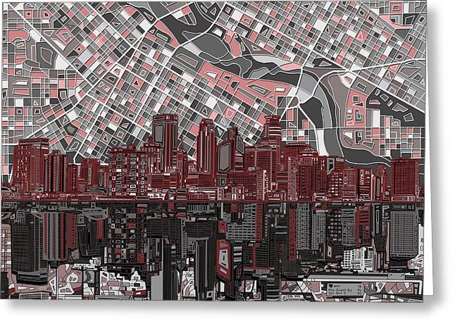 Minneapolis Skyline Abstract 9 Greeting Card