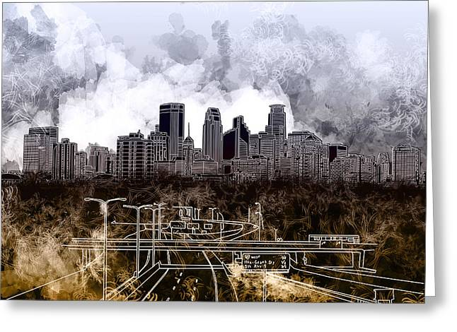 Minneapolis Skyline Abstract Greeting Card