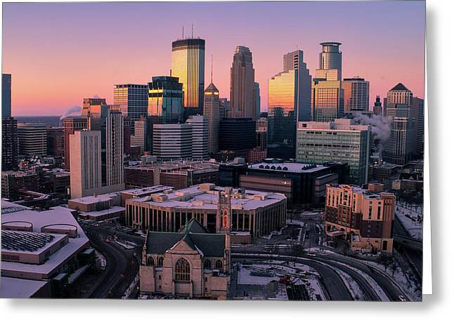 Minneapolis Skyline At Sunset Greeting Card