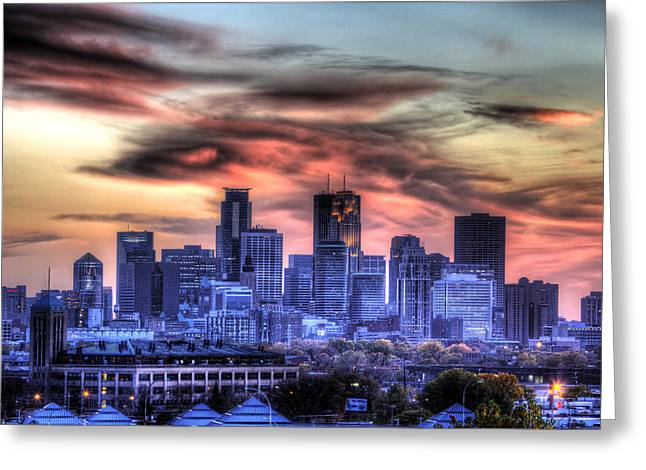 Minneapolis Skyline Autumn Sunset Greeting Card