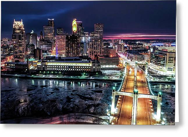 Minneapolis Skyline From The Mississippi River Greeting Card