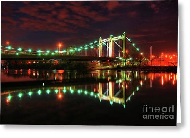 Minneapolis Skyline Hennepin Avenue Bridge Greeting Card by Wayne Moran