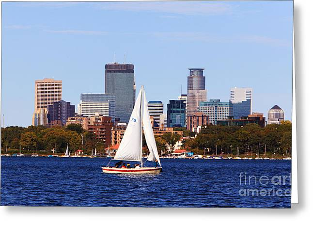 Minneapolis Skyline Lake Calhoun Sailing Greeting Card