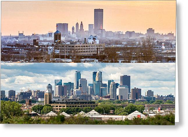 Minneapolis Skylines - Old And New Greeting Card