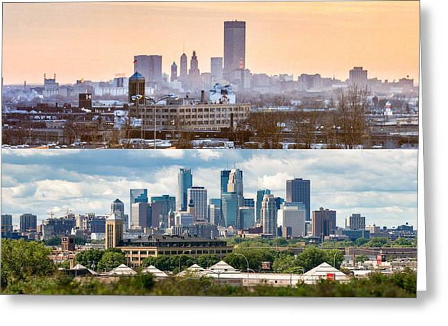 Greeting Card featuring the photograph Minneapolis Skylines - Old And New by Mike Evangelist