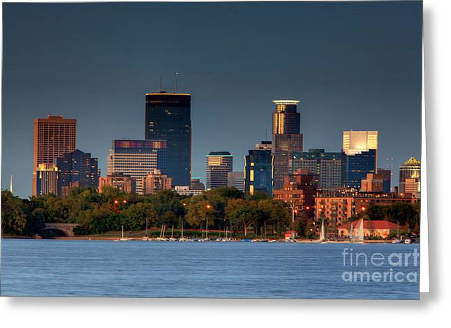 Minneapolis Skyline Photography Lake Calhoun Summer Evening Greeting Card