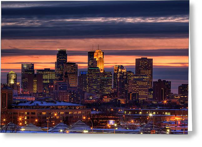 Twin Greeting Cards - Minneapolis Skyline Greeting Card by Shawn Everhart