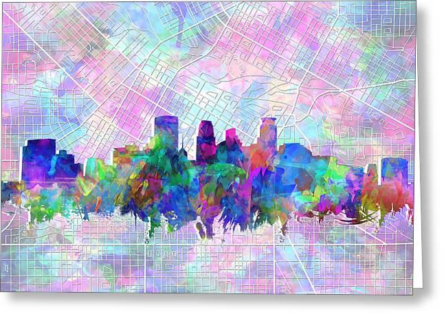 Minneapolis Skyline Watercolor Greeting Card by Bekim Art