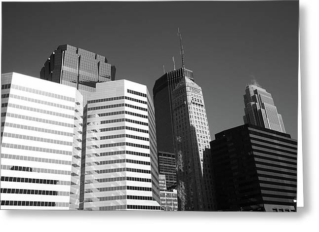Greeting Card featuring the photograph Minneapolis Skyscrapers Bw 5 by Frank Romeo