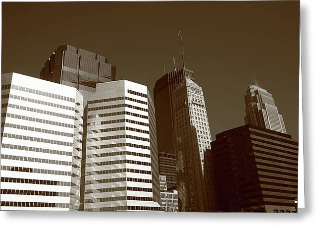 Greeting Card featuring the photograph Minneapolis Skyscrapers 5 Sepia by Frank Romeo