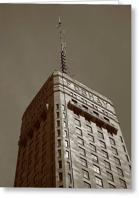 Greeting Card featuring the photograph Minneapolis Tower 6 Sepia by Frank Romeo
