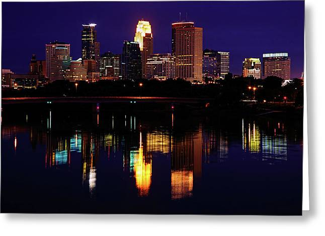 Mississippi River Photographs Greeting Cards - Minneapolis Twilight Greeting Card by Rick Berk