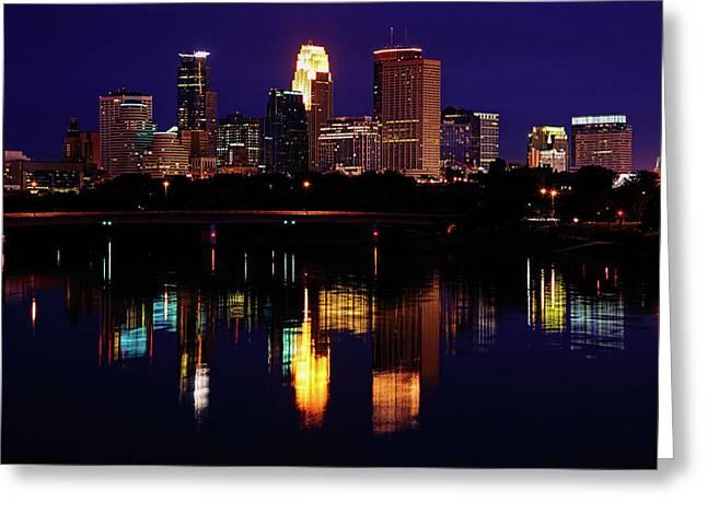 Minneapolis Greeting Cards - Minneapolis Twilight Greeting Card by Rick Berk