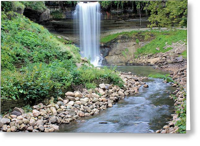 Riverbed Greeting Cards - Minnehaha Falls Downstream Greeting Card by Kristin Elmquist