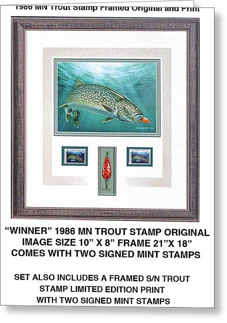 Minnesota 1986 Trout Stamp Original Greeting Card by Jon Q Wright